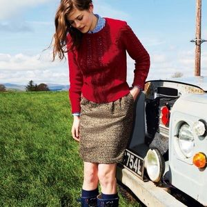 Boden Glamour Tweed Mini Skirt Gold Metallic 6R
